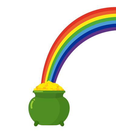 Pot of gold leprechaun and rainbow. St. Patricks Day in Ireland Illustration