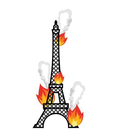 Eiffel Tower fire. Flame in Paris. Disaster Illustration