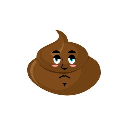Shit sad Emoji. Turd sorrowful emotion isolated