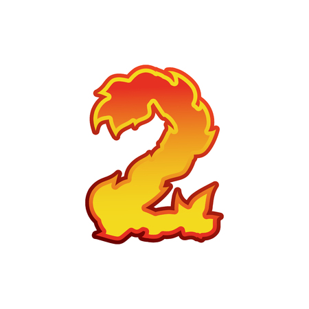 Number 2 fire. Flames Font two. Tattoo alphabet character. fiery sign ABC Illustration