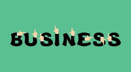 raise the thumb: Business lettering. Letters and hands of businessmen. It shows finger Illustration
