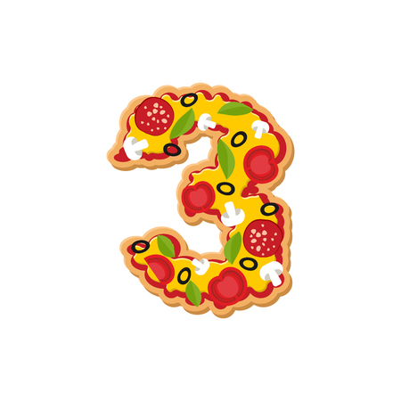 Number 3 pizza font. Italian meal alphabet numeral three. Lettring fast food Illustration