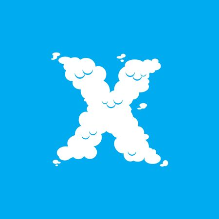 Letter X cloud font symbol. White Alphabet sign on blue sky