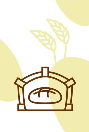 Bakery template design blank, poster. Bread in oven and wheat ears Illustration
