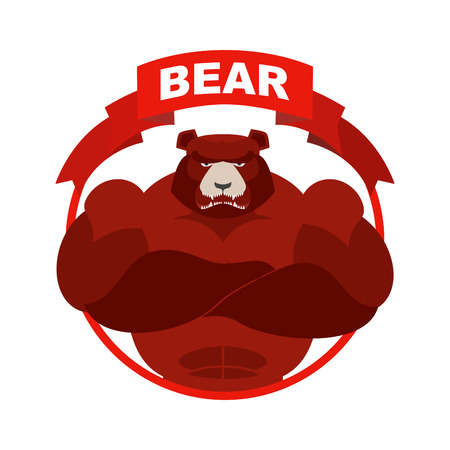Red Bear Down Arrow. Exchange Trader illustration. Business concept
