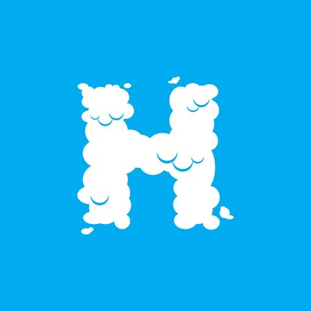 Letter H cloud font symbol. White Alphabet sign on blue sky