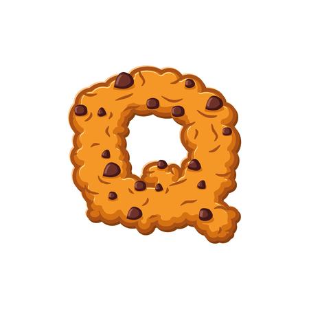 Q letter cookies. Cookie font. Oatmeal biscuit alphabet symbol. Food sign ABC Illustration