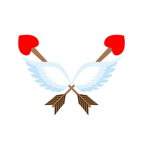 Valentines Day emblem. Cupid logo. Arrow heart and wings Illustration