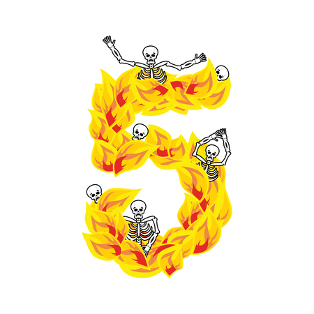 Number 5 hellish flames and sinners font. Fiery lettering five. Infernal fire alphabet. ABC devilish flame of Death Satanic and skeleton