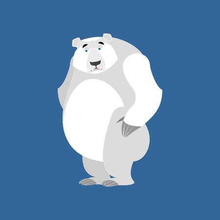 Polar Bear sad Emoji. Wild animal Arctic and Antarctic. sorrowful Emotion beast Illustration