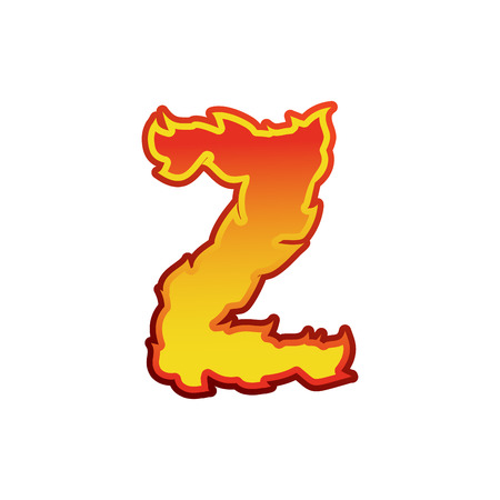 Letter Z fire. Flames font lettering. Tattoo alphabet character. fiery sign alphabet Illustration