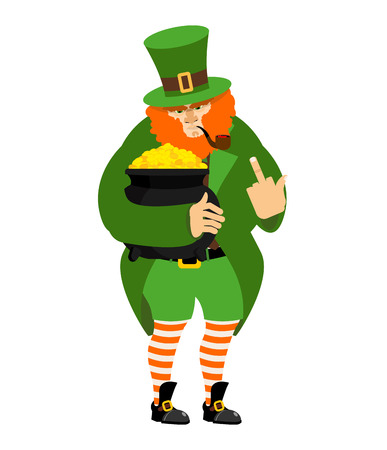 bad fortune: Angry Leprechaun fuck and pot of gold. dwarf in green clothes. boiler of golden coins. St.Patrick s Day. National Holiday in Ireland