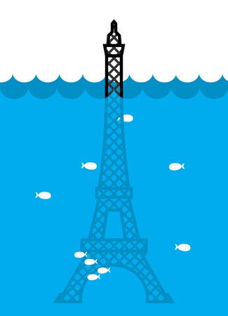 Inondation de la tour Eiffel. déluge à Paris. Beaucoup d'eau et de poisson. Catastrophe Vecteurs