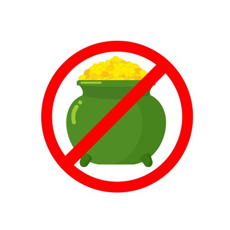 ring road: Stop leprechaun gold treasure. Pot of golden coins on red ring. Road sign Ban for holiday in Ireland. St.Patricks Day