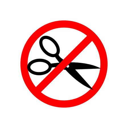 Stop cutting scissors. Prohibiting red road sign. Ban shears