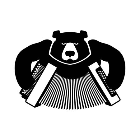 harmonic: Russia logo bear with accordion. Grizzlies with an harmonica. Russian folk musical instrument. National wild animal sign Illustration