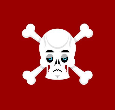 Skull and crossbones Sad Emoji. skeleton head  sorrowful emotion isolated