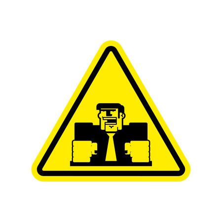 Attention patron en colère. chef au triangle jaune. Panneau de prudence