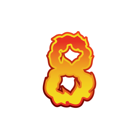 Number 8 fire. Flames Font eight . Tattoo alphabet character. fiery sign ABC Illustration
