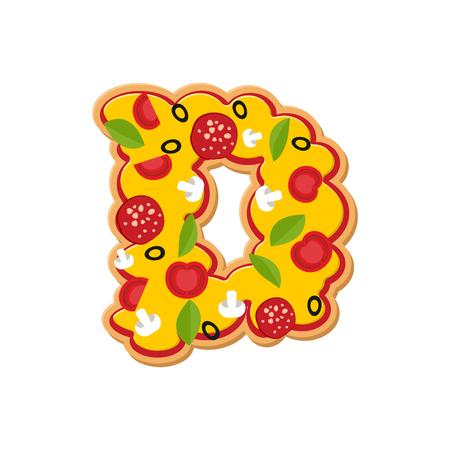 Letter D pizza font. Italian meal alphabet. Lettring fast food Illustration