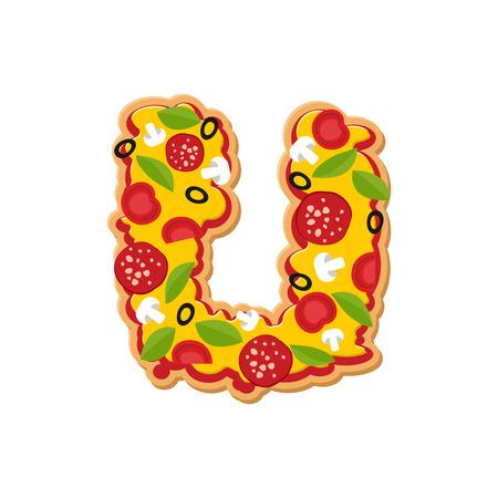 Letter U pizza font. Italian meal alphabet. Lettring fast food