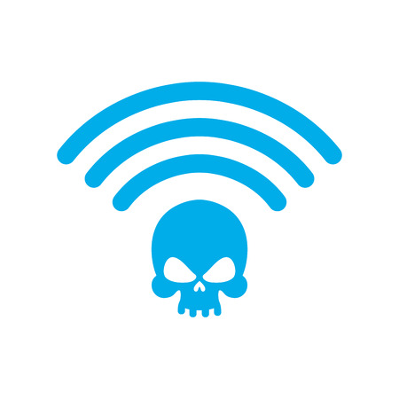 Wi-fi death. WiFi mortal. Wireless connection skull. Passing doom. demise at distance Illustration