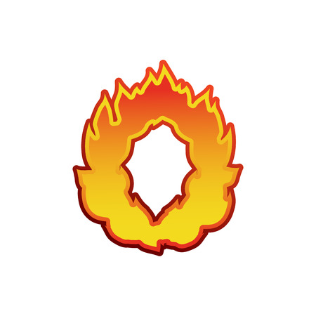 Letter O fire. Flames font lettering. Tattoo alphabet character. fiery sign alphabet Illustration
