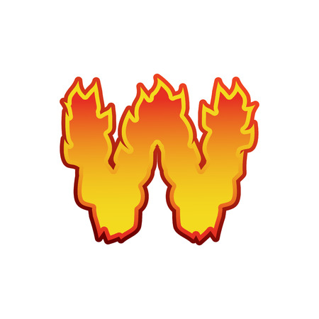 fervent: Letter W fire. Flames font lettering. Tattoo alphabet character. fiery sign alphabet Illustration