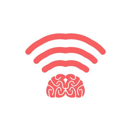 Wi-fi brain. WiFi mind. Wireless connection wiseacre. Passing thoughts. Thinking at distance Illustration