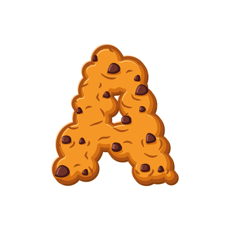 A letter cookies. Cookie font. Oatmeal biscuit alphabet symbol. Food sign ABC