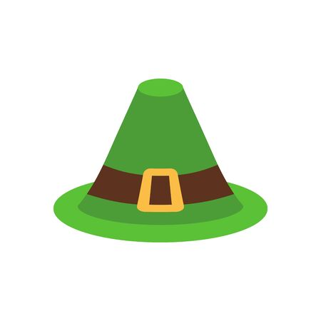 gold buckle: Leprechaun Hat green isolated. National Irish retro cap for dwarf. Illustration for St. Patricks Day. Holiday in Ireland Illustration