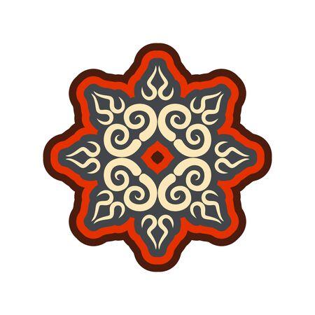 Arabic ornament isolated. Oriental decorative rosette. Islamic Symbol