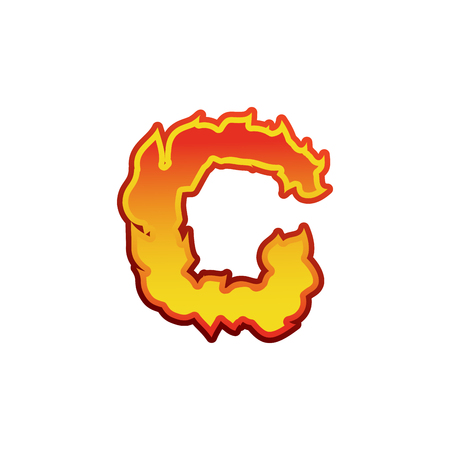 fervent: Letter C fire. Flames font lettering. Tattoo alphabet character. fiery sign alphabet Illustration