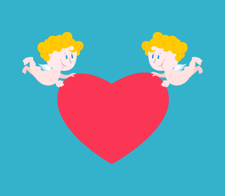 Cupid and heart. Cute little angel carries love. Illustration for Valentines Day