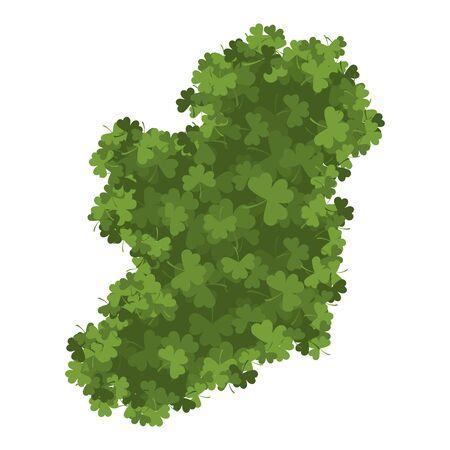 irish map: Ireland map of Clover. shamrock Irish land area Illustration