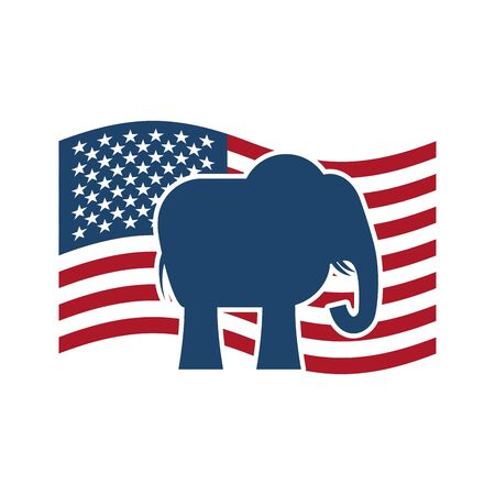 presidential: Republican elephant and US flag. Political Party America