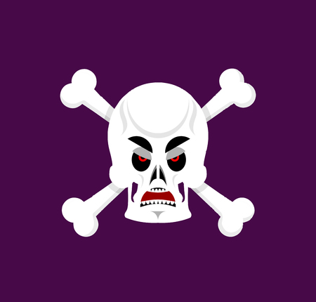 wrath: Skull and crossbones angry Emoji. skeleton head grumpy emotion isolated Illustration
