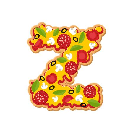Letter Z pizza font. Italian meal alphabet. Lettring fast food Illustration