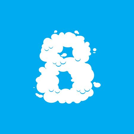 Number 8 cloud font symbol. White Alphabet sign eight  on blue sky