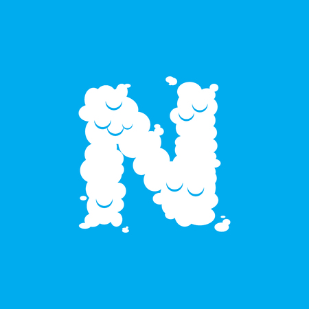Letter N cloud font symbol. White Alphabet sign on blue sky