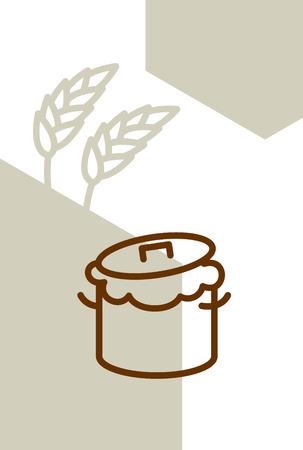 Bäckerei-Vorlage entwerfen leer, Plakat. Pfanne mit Teig und Weizen Ohren