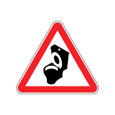 Warning WC. Toilet bowl on red triangle. Road sign attention Illustration