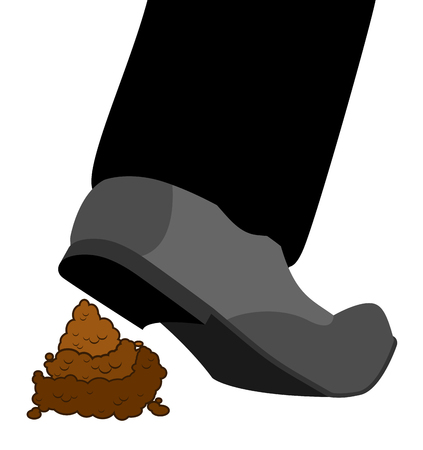 Stepping on shit. Shoes and turd. footwear and poop isolated Vektorové ilustrace