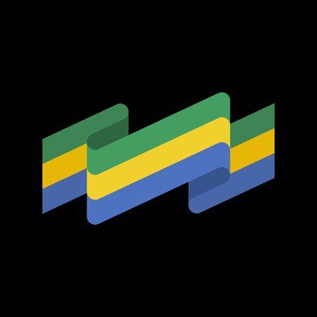 forth: Gabon flag ribbon isolated. Gabonese Republic tape banner. State patriotic sign Illustration