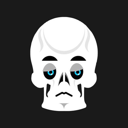 sorrowful: Skull Sad Emoji. skeleton head  sorrowful emotion isolated