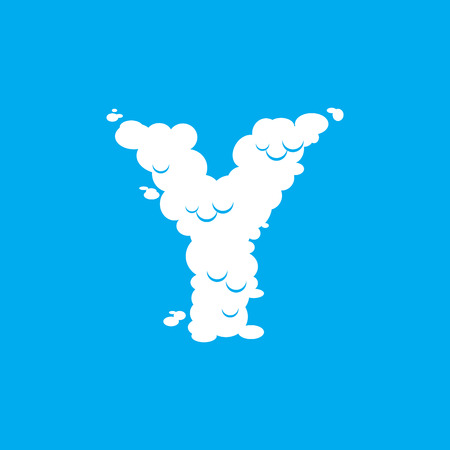 Letter Y cloud font symbol. White Alphabet sign on blue sky