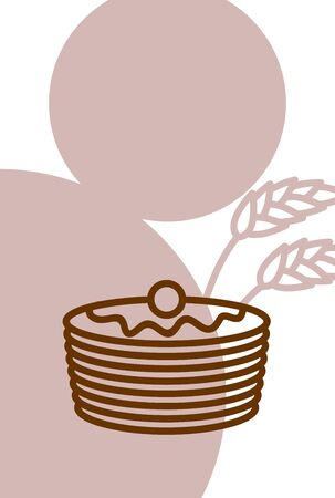 Bakery template design blank, poster. Pancakes and wheat ears Illustration