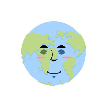 Earth sleeping Emoji. Planet asleep emotion isolated
