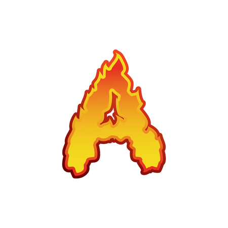 fervent: Letter A fire. Flames font lettering. Tattoo alphabet character. fiery sign alphabet