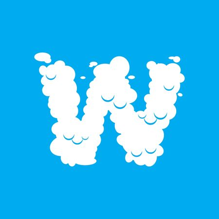 Letter W cloud font symbol. White Alphabet sign on blue sky